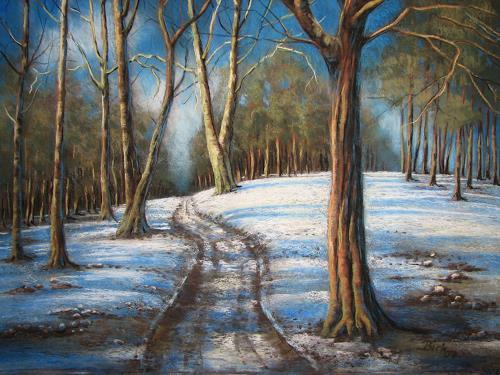 Kerstin Birk, Kalter Wintertag, Landschaft: Winter, Natur: Wald, Realismus, Neuzeit