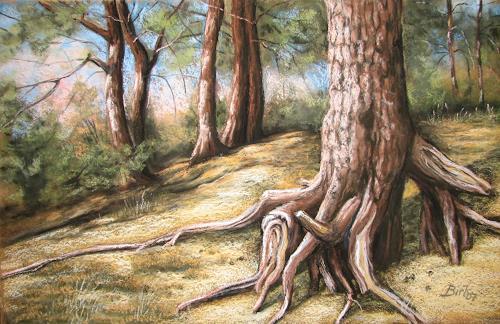 Kerstin Birk, Verwurzelt, Landschaft: Sommer, Natur: Wald, Realismus