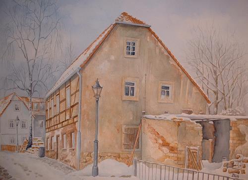 Kerstin Birk, Altes Haus auf der Elbstraße, Bauten: Haus, Landschaft: Winter, Realismus