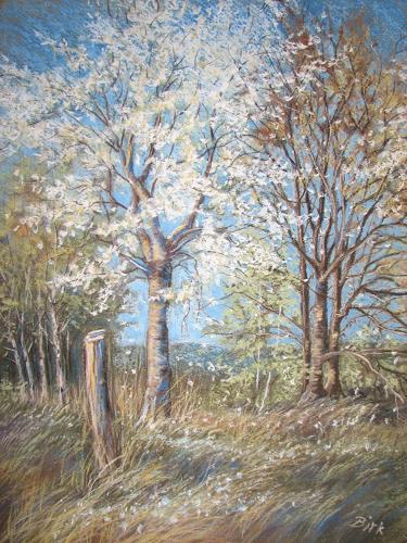 Kerstin Birk, Frühling am Kanal, Pflanzen: Bäume, Landschaft: Frühling, Realismus
