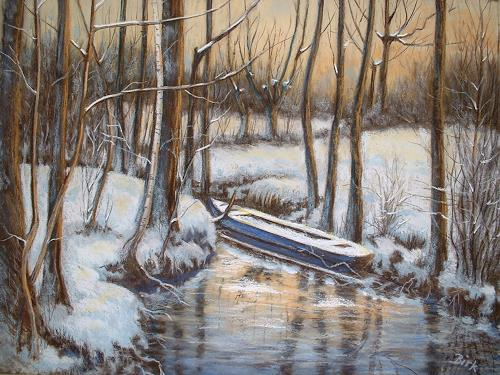 Kerstin Birk, Winter im Jahnatal, Landschaft: Winter, Natur: Wald, Realismus