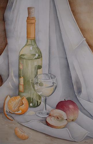 Kerstin Birk, Weinflasche und Äpfel, Essen, Pflanzen: Früchte, Realismus, Expressionismus