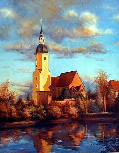 Kerstin Birk, Kirche zu Zeithain, Bauten: Kirchen, Landschaft: Herbst, Realismus