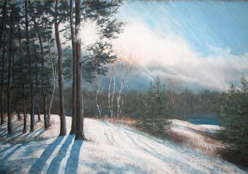 Kerstin Birk, Kiesgrube im Schnee, Landschaft: Winter, Zeiten: Winter, Realismus, Expressionismus