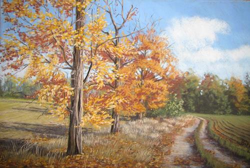 Kerstin Birk, Feldweg bei Tiefenau, Landschaft: Herbst, Zeiten: Herbst, Realismus, Expressionismus