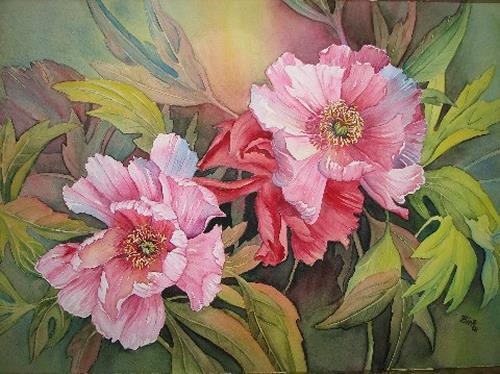 Kerstin Birk, Päonien, Pflanzen: Blumen, Diverse Pflanzen, Realismus, Neuzeit