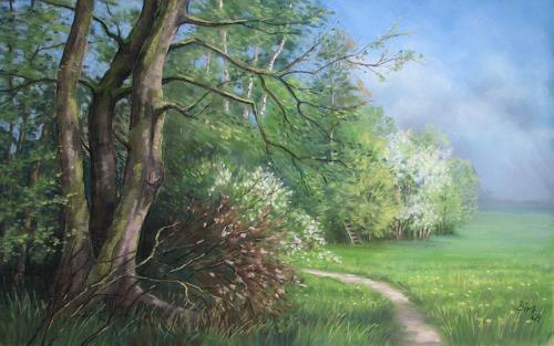 Kerstin Birk, Frühling in der Röderaue, Landschaft: Frühling, Pflanzen: Bäume, Realismus, Neuzeit