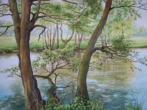 Kerstin Birk, An der großen Röder, Landschaft: Frühling, Pflanzen: Bäume, Realismus