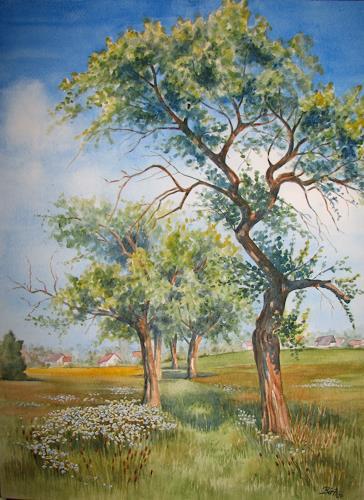 Kerstin Birk, Alte Apfelbäume, Pflanzen: Bäume, Landschaft: Frühling, Realismus, Neuzeit