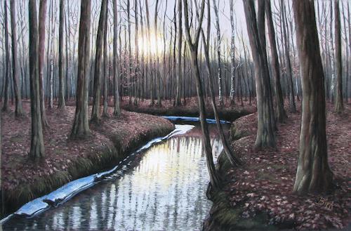 Kerstin Birk, Sonnenuntergang (Zabeltitz), Landschaft: Winter, Natur: Wald, Realismus, Neuzeit