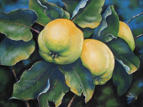 Kerstin Birk, Apfelquitten, Pflanzen: Früchte, Landschaft: Herbst, Realismus, Neuzeit