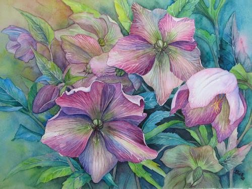 Kerstin Birk, Lenzrosen, Pflanzen: Blumen, Landschaft: Frühling, Realismus