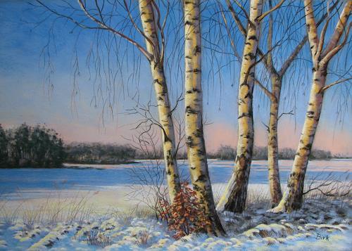Kerstin Birk, Birkengruppe in der Nachmittagssonne (Röderau), Landschaft: Winter, Pflanzen: Bäume, Realismus, Expressionismus