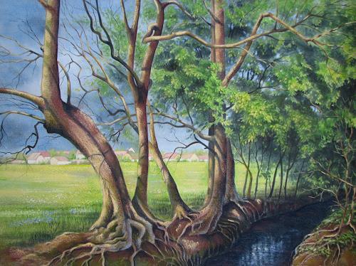 Kerstin Birk, Frühling im Jahnatal, Landschaft: Frühling, Pflanzen: Bäume, Realismus, Neuzeit