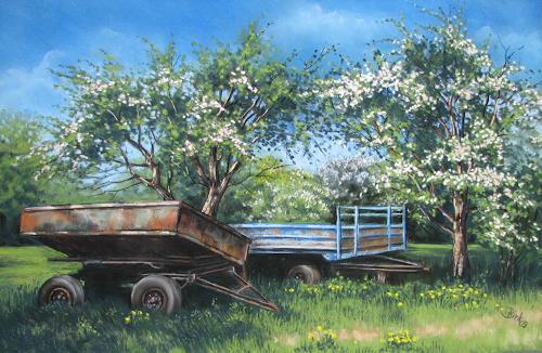 Kerstin Birk, Zwei alte Anhänger, Landschaft: Frühling, Pflanzen: Bäume, Realismus, Neuzeit