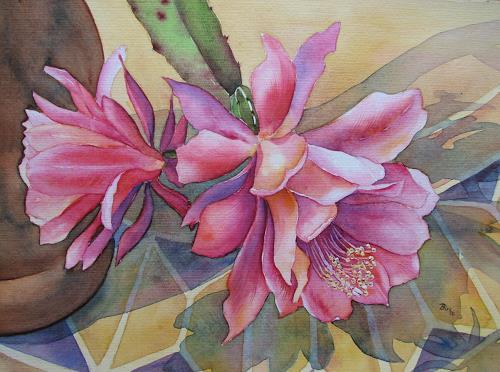 Kerstin Birk, Kaktusblüte, Pflanzen: Blumen, Stilleben, Realismus