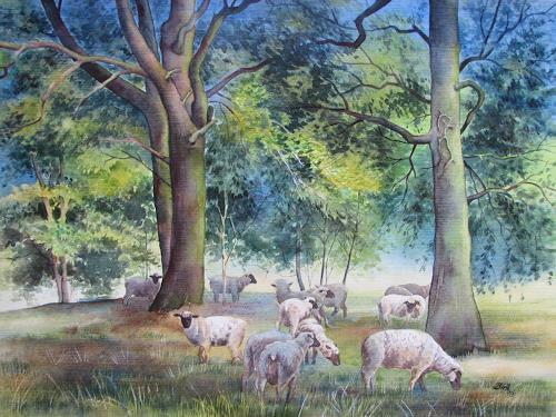 Kerstin Birk, Schafe auf der Heide (Skassa), Tiere: Land, Pflanzen: Bäume, Realismus, Neuzeit
