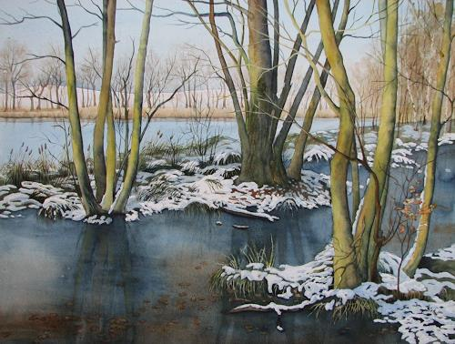 Kerstin Birk, Winter am Pumpenteich (Schmannewitz), Landschaft: Winter, Zeiten: Winter, Realismus, Expressionismus