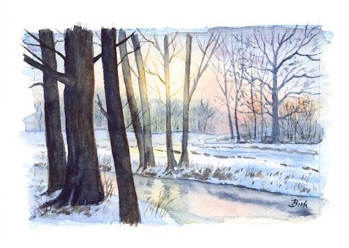 Kerstin Birk, Winter in Tiefenau, Landschaft: Winter, Pflanzen: Bäume, Realismus