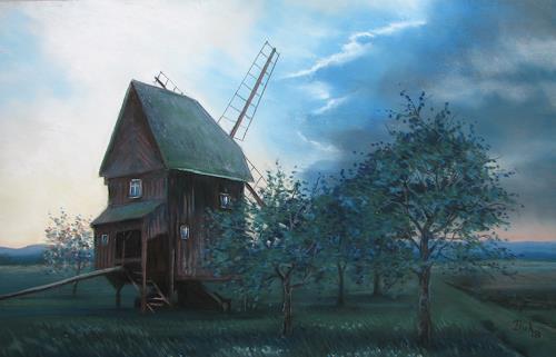 Kerstin Birk, Mühle in Altbelgern, Landschaft: Ebene, Architektur, Realismus