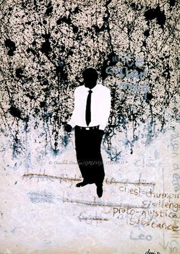 Damilola Oshilaja, White Collar Man, Abstraktes, Diverse Menschen, Gegenwartskunst, Abstrakter Expressionismus