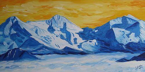 Irene Varga, Schattenkreuz am Dreigestirn, Landschaft: Berge