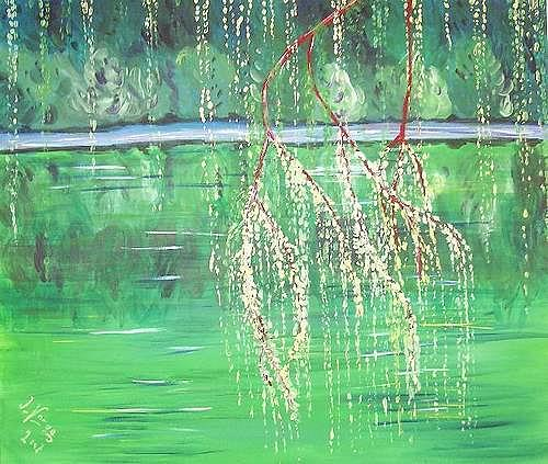 Irene Varga, Impressionen am Gübsensee, Natur: Wasser, Pflanzen: Bäume, Gegenwartskunst