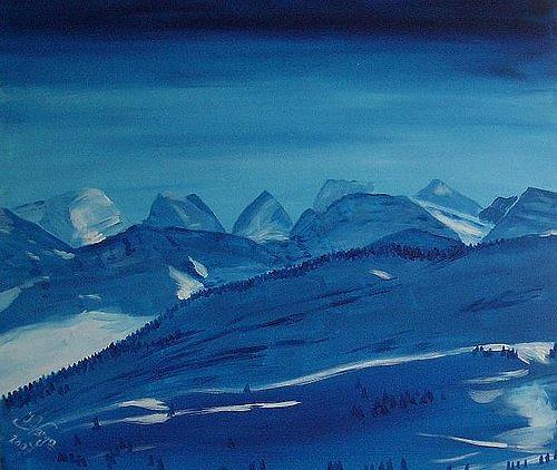 Irene Varga, Churfirsten, Landschaft: Berge, Zeiten: Winter, Gegenwartskunst