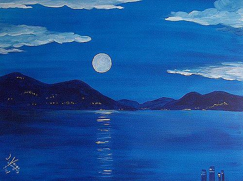 Irene Varga, Lago Maggiore by Night, Landschaft: See/Meer, Natur: Wasser, Gegenwartskunst