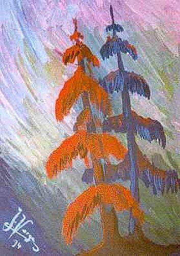 Irene Varga, Red and blue fir in the strom, Natur: Wald, Pflanzen: Bäume, Gegenwartskunst