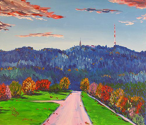 Irene Varga, Uetliberg  October Day, Landschaft: Herbst, Landschaft: Hügel, Gegenwartskunst, Expressionismus