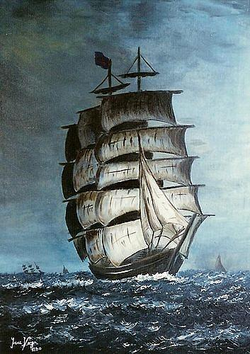 Irene Varga, Sailing Ship 1, Landschaft: See/Meer, Technik, Gegenwartskunst