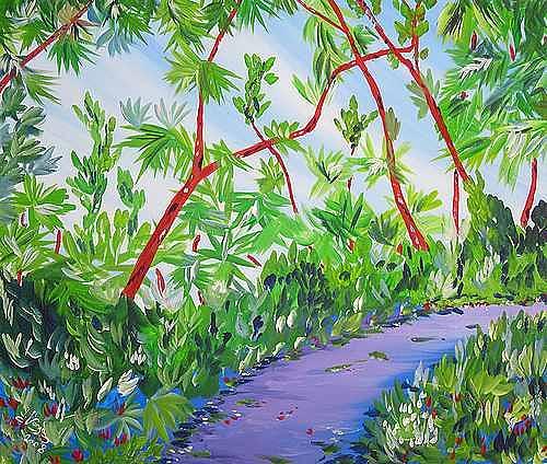 Irene Varga, Brissago Island jungle path, Diverse Pflanzen, Natur: Wald, Gegenwartskunst