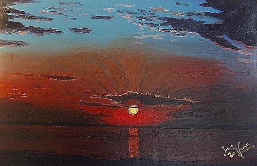 Irene Varga, Red Sunset, Landschaft: See/Meer, Romantik: Sonnenuntergang, Gegenwartskunst