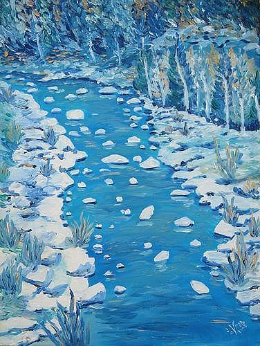Irene Varga, River and Stones, Diverse Landschaften, Diverse Pflanzen