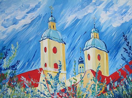 Irene Varga, Klostertürme beim Fladepärkli, Bauten: Kirchen, Diverse Pflanzen