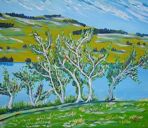 Irene Varga, Hallwilerseeufer, Landschaft: See/Meer, Pflanzen: Bäume