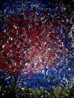 Agnes-Abplanalp-Landschaft-Sommer-Pflanzen-Baeume-Moderne-Impressionismus-Pointilismus