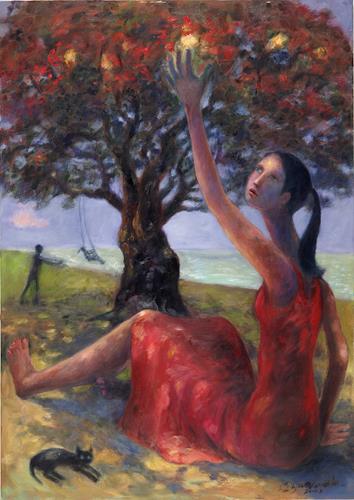 Sharon Yamamoto, BEARING FRUIT, Menschen: Frau, Mythologie, Gegenwartskunst, Expressionismus