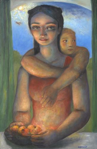 Sharon Yamamoto, DIVINE FRUIT, Menschen: Familie, Mythologie, Gegenwartskunst, Expressionismus