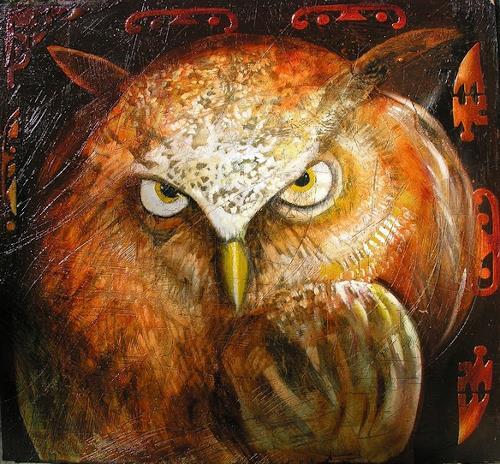 Anselmi, owl in the dark, Tiere: Luft, Tiere: Land, Naturalismus, Abstrakter Expressionismus
