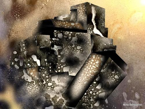 Mirta Benavente, Ciudades agujereadas, Abstraktes, Konzeptkunst, Expressionismus