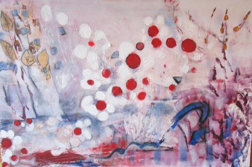 Andrea Finck, Japanische Kirschblüten, Pflanzen: Blumen, Fantasie, Gegenwartskunst