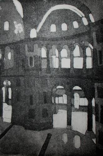 Andrea Finck, Hagia Sophia, Radierung mit Aqua tinta, Architektur, Geschichte, Gegenwartskunst