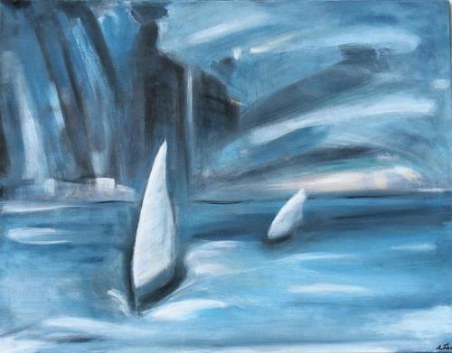 Andrea Finck, Sailing, Landschaft: See/Meer, Sport, Gegenwartskunst