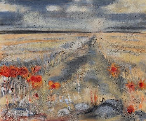 Andrea Finck, Sommerlandschaft, Landschaft: Sommer, Natur, Gegenwartskunst