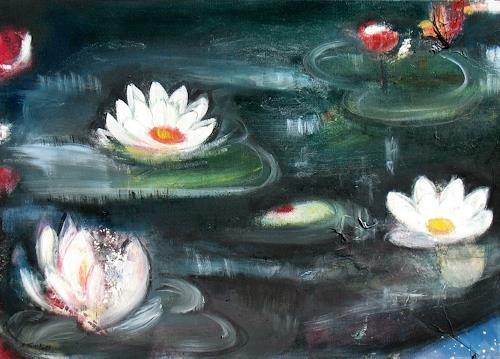 Andrea Finck, Seerosen, Pflanzen: Blumen, Natur: Wasser, Impressionismus