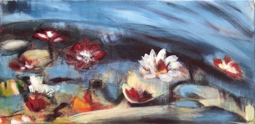 Andrea Finck, Seerosen, blau, Pflanzen: Blumen, Diverses, Gegenwartskunst