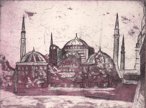 Andrea Finck, Radierung -Aquatinta Hagia Sophia, Architektur, Religion, Historismus