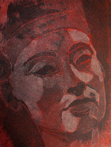Andrea Finck, Nofretete - Radierung - Aquatinta, Mythologie, Historismus, Abstrakter Expressionismus
